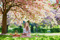 Girl having picnic and reading book in cherry garden Royalty Free Stock Photo