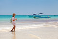 Girl having a walk in Playa Paraiso, Mayan Riviera Royalty Free Stock Photo