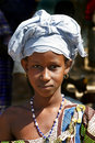 Girl with headdress in Djenne Royalty Free Stock Photo