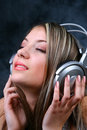 Girl with Headphones 2 Stock Images
