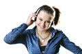 Girl with headphones isolated Stock Photography