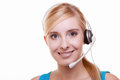 Girl with headphones and microphone headset on white customer service representative woman talking giving online help desk support Royalty Free Stock Images