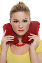 Girl with headrest pillow Royalty Free Stock Photo