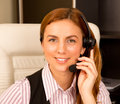Girl with headset Royalty Free Stock Photo