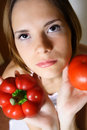 Girl with healthy vegetables Stock Photos
