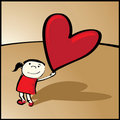 Girl with heart-balloon Royalty Free Stock Images