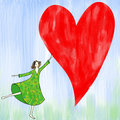 Girl with heart frame Royalty Free Stock Images