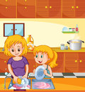Girl helping mom doing dishes