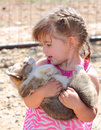 Girl and Her Baby Welsh Corgi Stock Photo