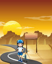 A girl and her bicycle at the road near the empty signboard illustration of Royalty Free Stock Photos