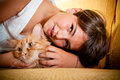 Girl and her cat Royalty Free Stock Photos