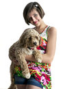 Girl with her dog Stock Images