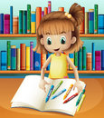 A girl with her empty notebook and crayons standing in front of illustration the bookshelves Stock Photo