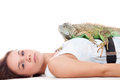 Girl and her iguana Stock Photos