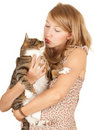 Girl with her lovely grey cat Stock Image