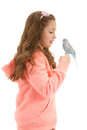 Girl with her pet bird budgerigar isolated on white Royalty Free Stock Photography