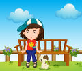 A girl and her pet at the park illustration of Stock Images