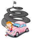 A girl and her pink racing car illustration of on white background Royalty Free Stock Photography