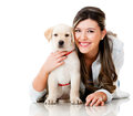 Girl with her puppy Royalty Free Stock Image