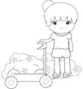 Girl with her scooter coloring page Royalty Free Stock Photo