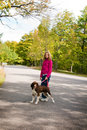 A girl and her springer spaniel Royalty Free Stock Image