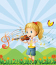 A girl at the hilltop playing with her violin illustration of Stock Photo