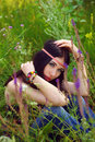 Girl hippie posing outdoor. Boho style, boho chic. Royalty Free Stock Photo