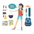 Girl hitchhiking. Young woman hitchhiking deals, tourism, hiking, camping Royalty Free Stock Photo