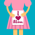 Girl Hold Banner I Love Mom, Mother Day Holiday, Daughter With Greeting Card
