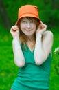 Girl hold bonnet Royalty Free Stock Photo