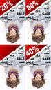 Girl holding advertising banner Stock Images