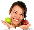 Girl holding apples Stock Image