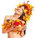 Girl  holding basket with fruit. Stock Images