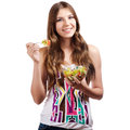 Girl holding a bawl with salad Stock Images