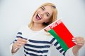 Girl holding Belarusian flag Royalty Free Stock Photo