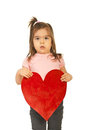 Girl holding a big heart Stock Photo