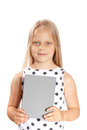 Girl holding blank gray card Stock Image