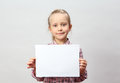 Girl holding blank sign Stock Images