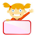 Girl holding a blank sign board vector illustration of waving while Stock Images