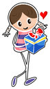 A girl holding a blue gift box illustration of on white background Royalty Free Stock Image