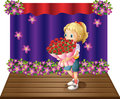 A girl holding a bouquet of flowers illustration on white background Royalty Free Stock Image