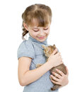 Girl holding British kitten isolated Stock Image