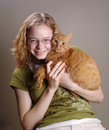 Girl holding cat Royalty Free Stock Photography