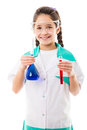 Girl holding chemical flask smiling in protective wear a and test tube isolated on white Royalty Free Stock Photo