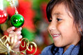 Girl holding Christmas ball Royalty Free Stock Photos