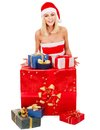 Girl  holding Christmas gift box. Royalty Free Stock Image