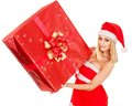 Girl  holding Christmas gift box. Royalty Free Stock Photography