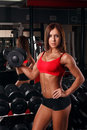 Girl holding a dumbbell woman athlete in the gym Stock Photography