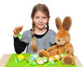 Girl holding easter eggs Royalty Free Stock Photo