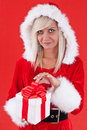 Girl holding a gift Stock Photo